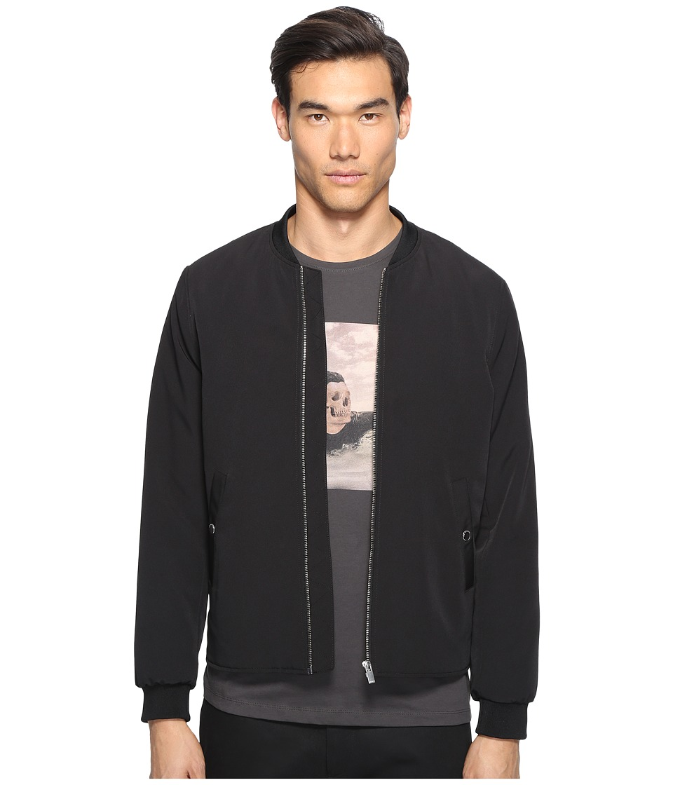 The Kooples - Classic Nylon Bomber Jacket (Black) Men's Coat