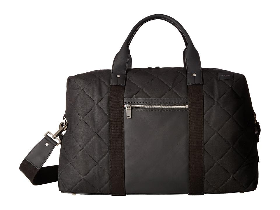 Jack Spade - Quilted Waxwear Travel Duffel (Black) Duffel Bags
