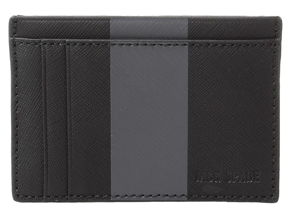 Jack Spade - Striped Barrow Leather ID Wallet (Black/Magnet) Wallet Handbags