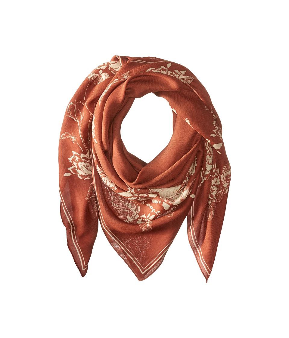 The Kooples - Lightweight Modal Skull Flowers Scarf (Orange) Scarves