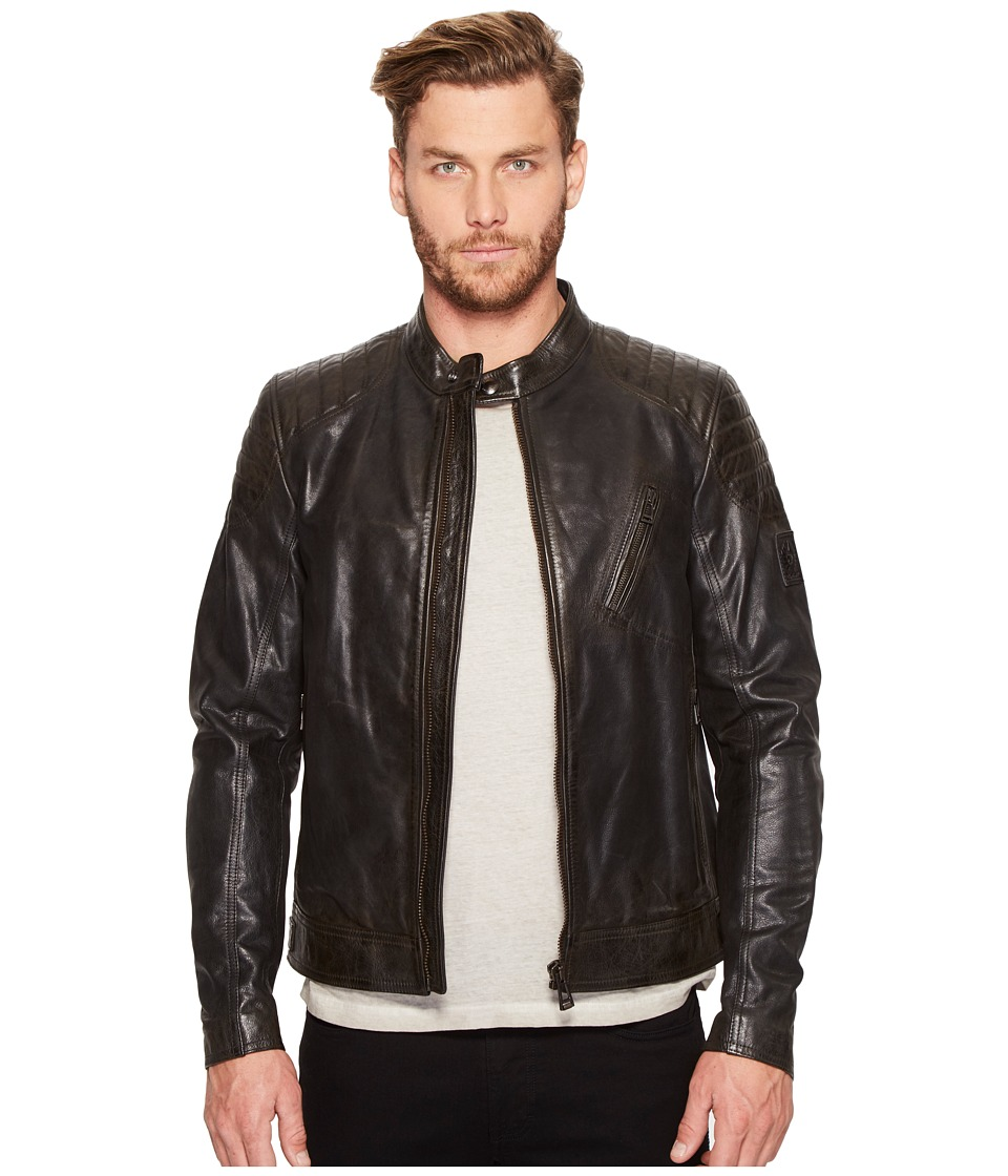 BELSTAFF - Signature Hand Waxed Sandway Leather Jacket (Vintage Black) Men's Coat