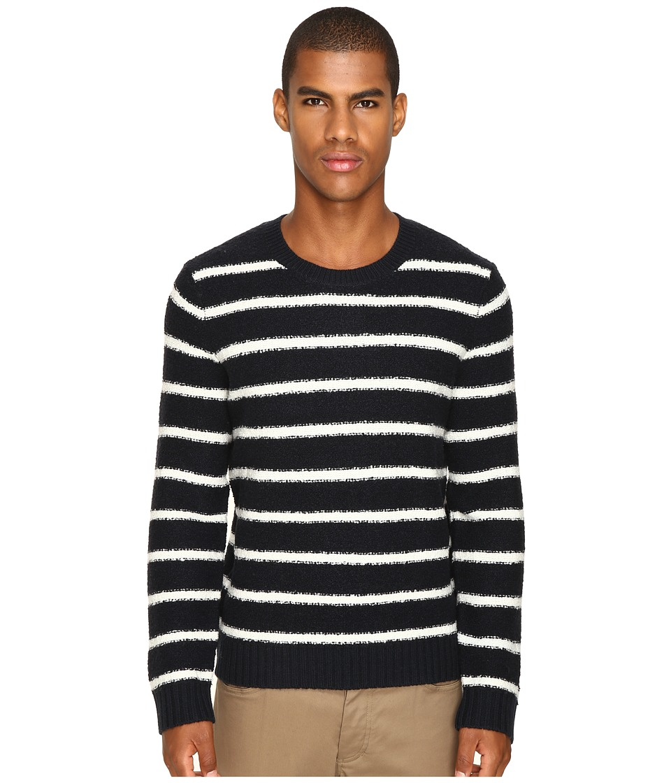 Vince Textured Striped Merino Blend Long Sleeve Crew Neck Sweater (Coastal/Pearl) Men