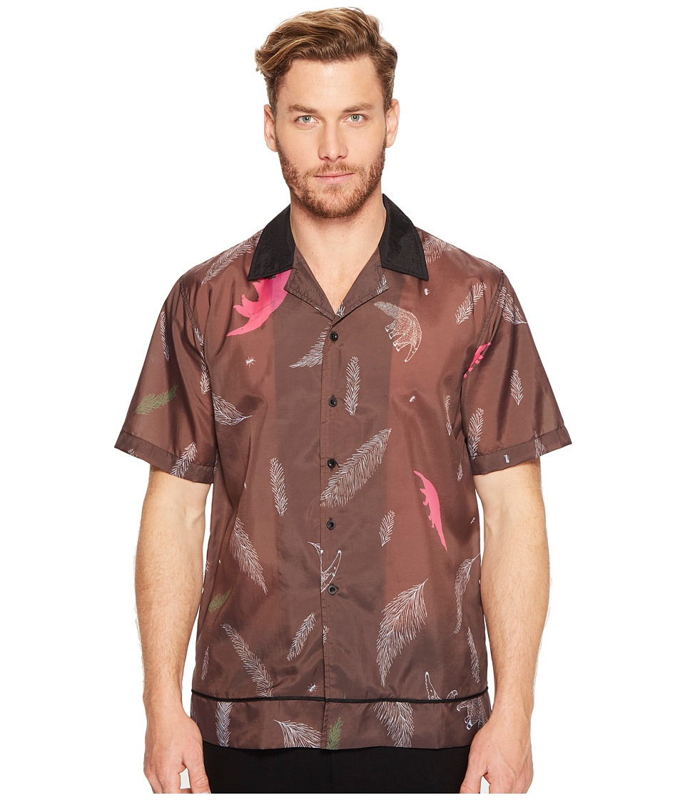DBYD - Printed Bowling Shirt (Brown) Men's Clothing
