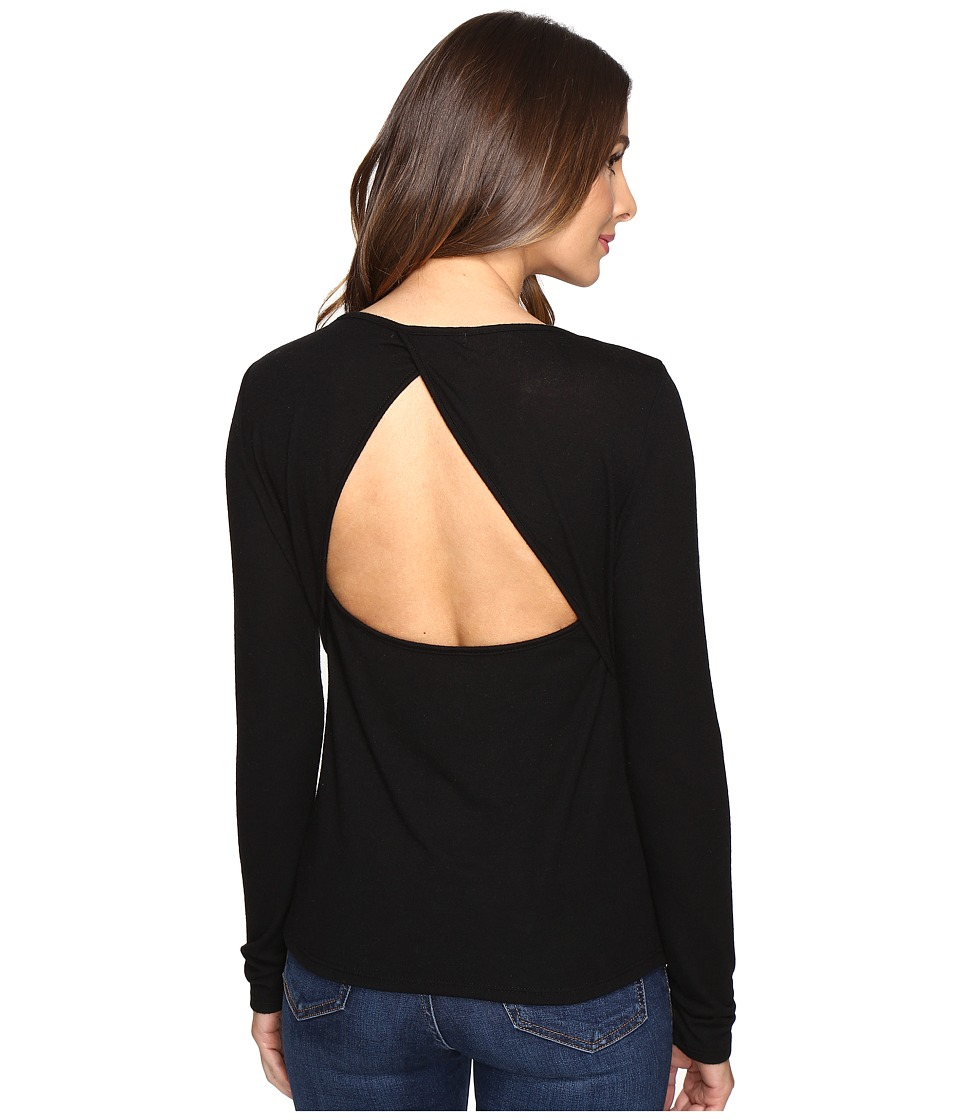 Project Social T - Jordan Keyhole Back Long Sleeve (Black) Women's Clothing