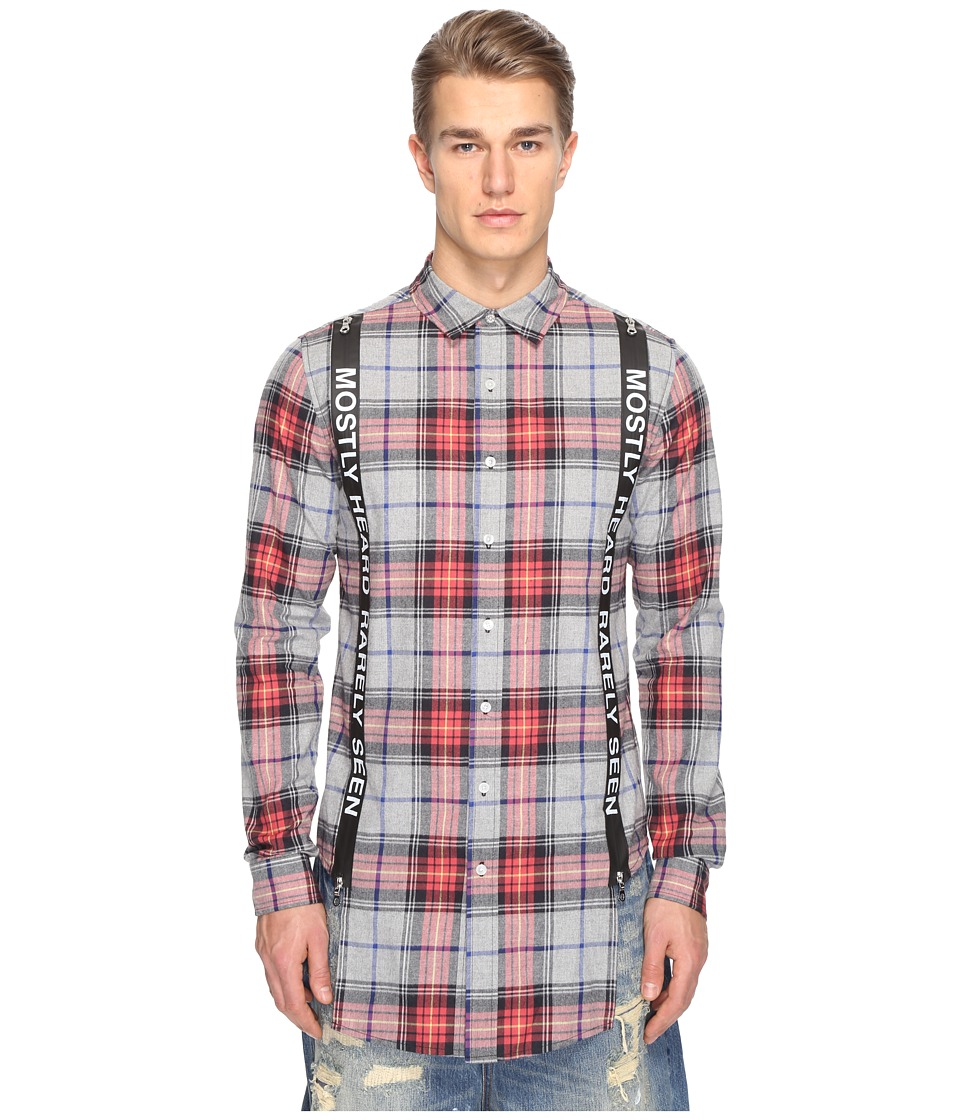 Mostly Heard Rarely Seen - Suspender Runner Plaid Shirt (Multi Red) Men's Clothing