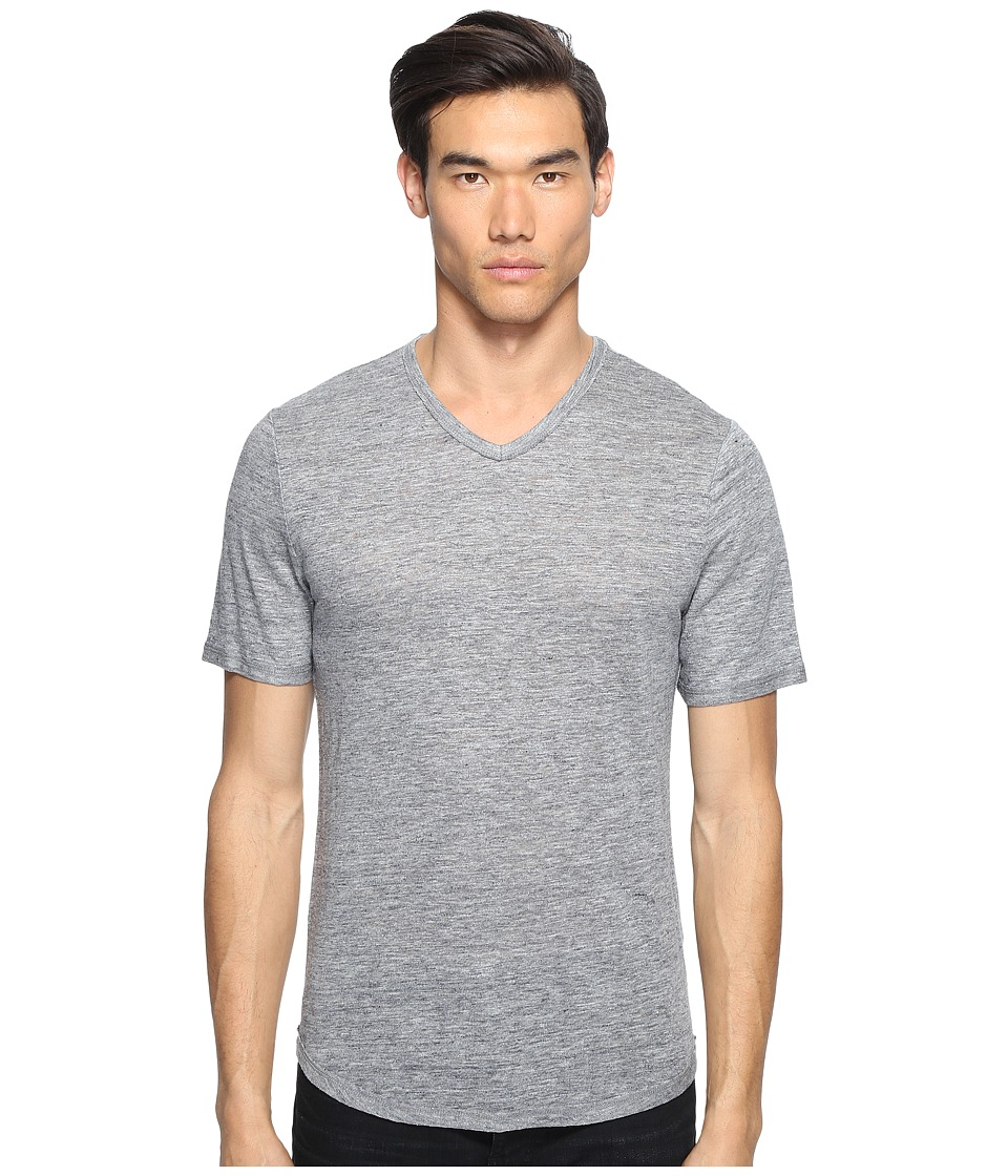 Vince - Raw Edge Linen V-Neck T-Shirt (Heather Cinder) Men's T Shirt
