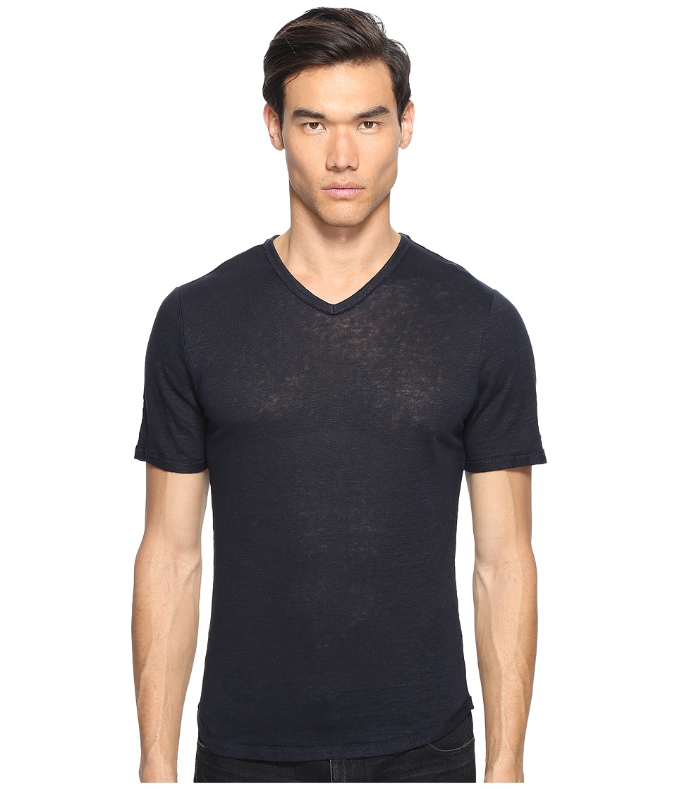 Vince - Raw Edge Linen V-Neck T-Shirt (Coastal) Men's T Shirt