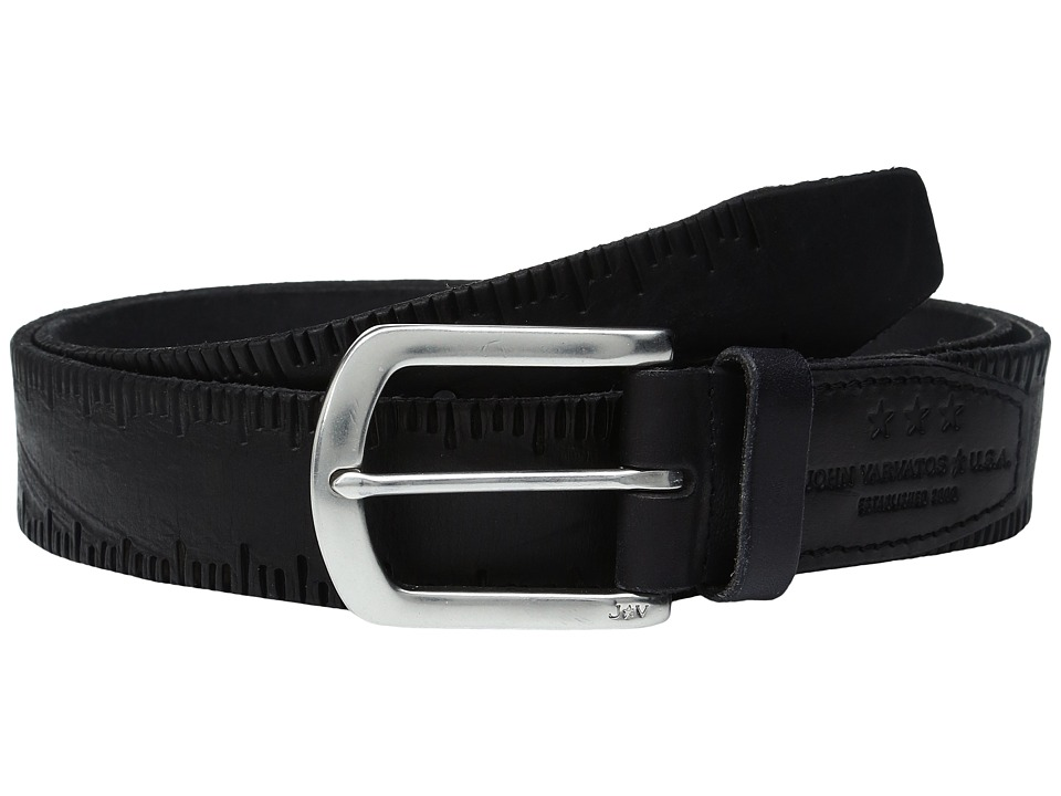 John Varvatos - Scored Edge Belt with Harness Buckle (Black) Men's Belts