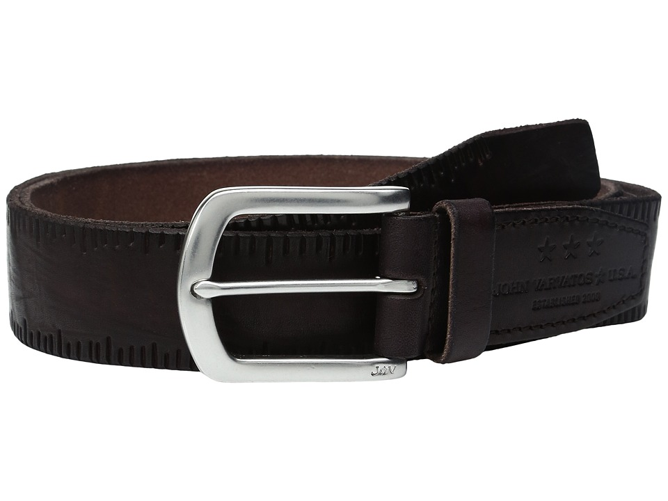 John Varvatos - Scored Edge Belt with Harness Buckle (Chocolate) Men's Belts