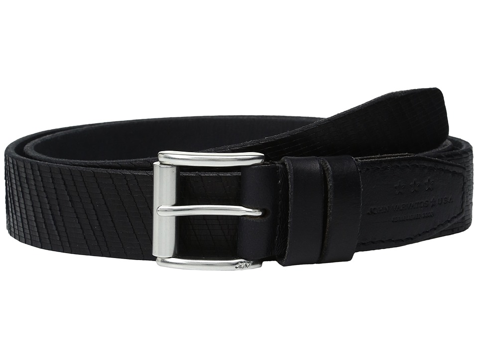 John Varvatos - Laser Cut Textured Belt with Roller Buckle (Black) Men's Belts