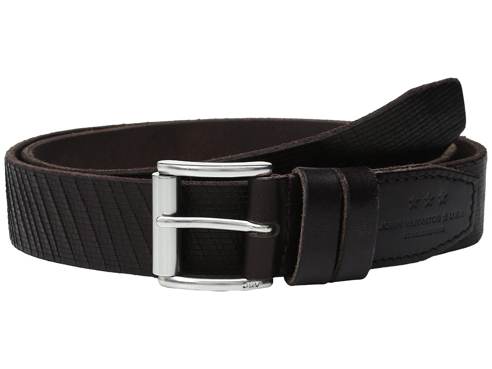 John Varvatos - Laser Cut Textured Belt with Roller Buckle (Chocolate) Men's Belts