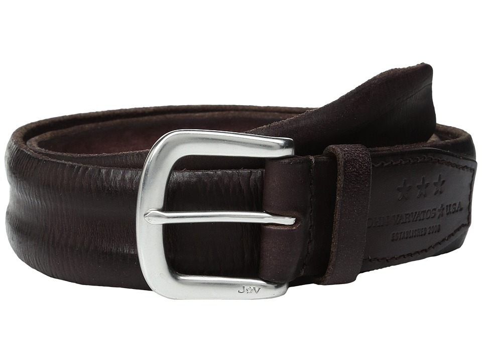 John Varvatos - Boarded and Washed Leather Strap Belt with Buckle (Chocolate) Men's Belts