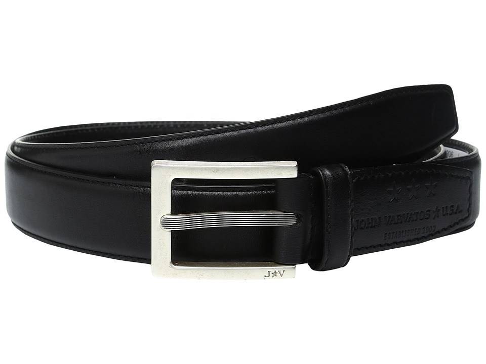 John Varvatos - Leather Dress Belt with Rectangular Buckle (Black) Men's Belts