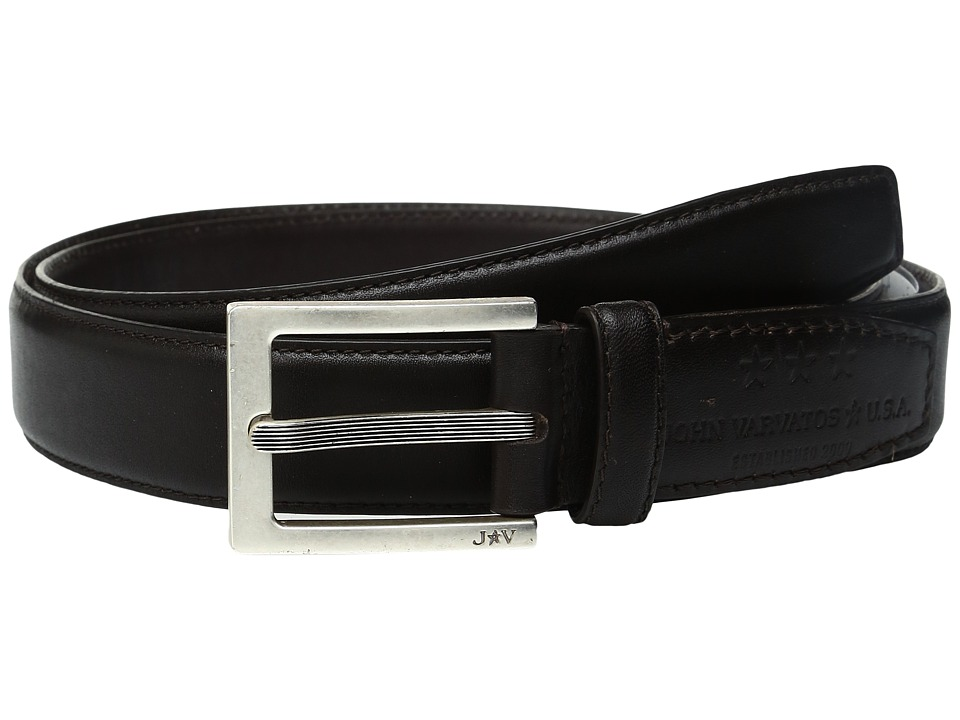 John Varvatos Leather Dress Belt with Rectangular Buckle (Chocolate) Men