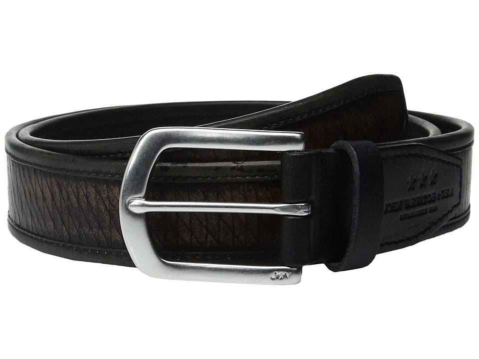 John Varvatos - Laser Cut Strap Belt with Harness Buckle (Black) Men's Belts