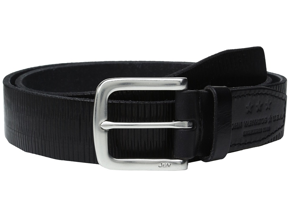John Varvatos - Laser Scored Strap Belt with Harness Buckle (Black) Men's Belts