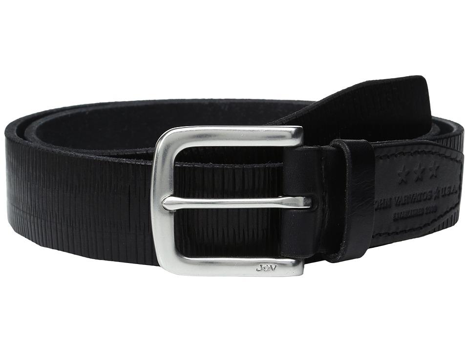 John Varvatos - Laser Scored Strap Belt with Harness Buckle (Black) Men's Belts