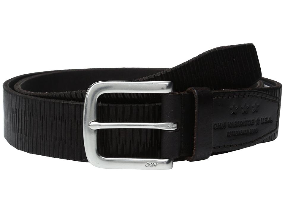 John Varvatos - Laser Scored Strap Belt with Harness Buckle (Chocolate) Men's Belts