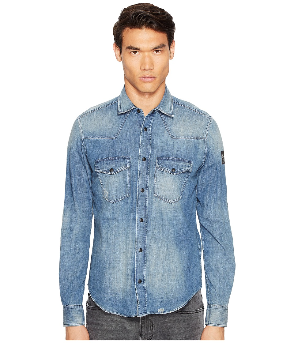 BELSTAFF - Someford Washed Denim Shirt (Dusty Indigo) Men's Clothing
