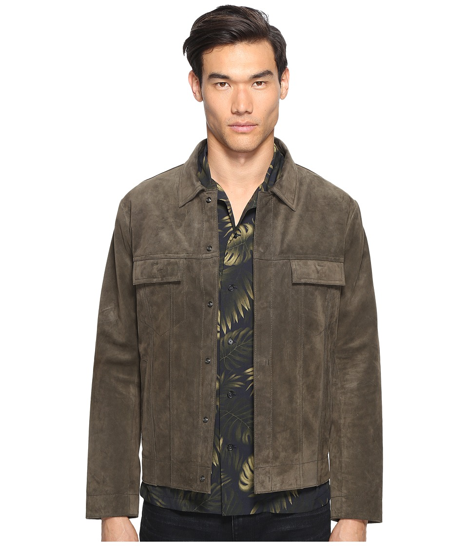 Vince - Suede Trucker Jacket (Olive) Men's Coat