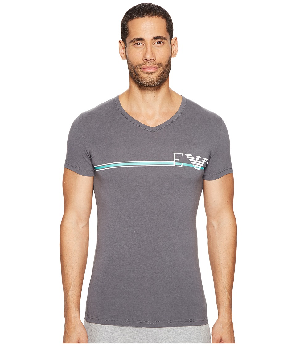 Emporio Armani - Pop Stripe Stretch Cotton Crew Neck (Anthracite Grey) Men's T Shirt