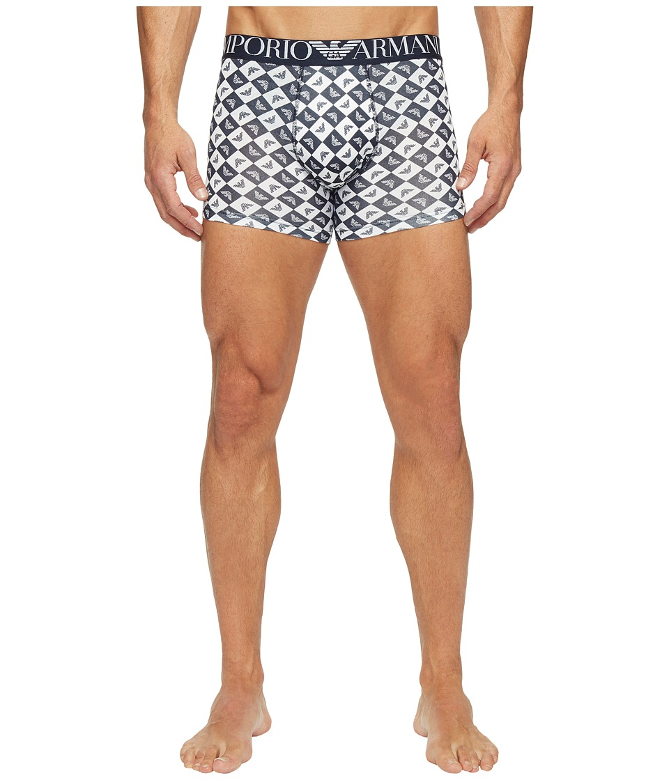 Emporio Armani - Eagle Check Stretch Cotton Boxer Brief (White/Navy Blue) Men's Underwear