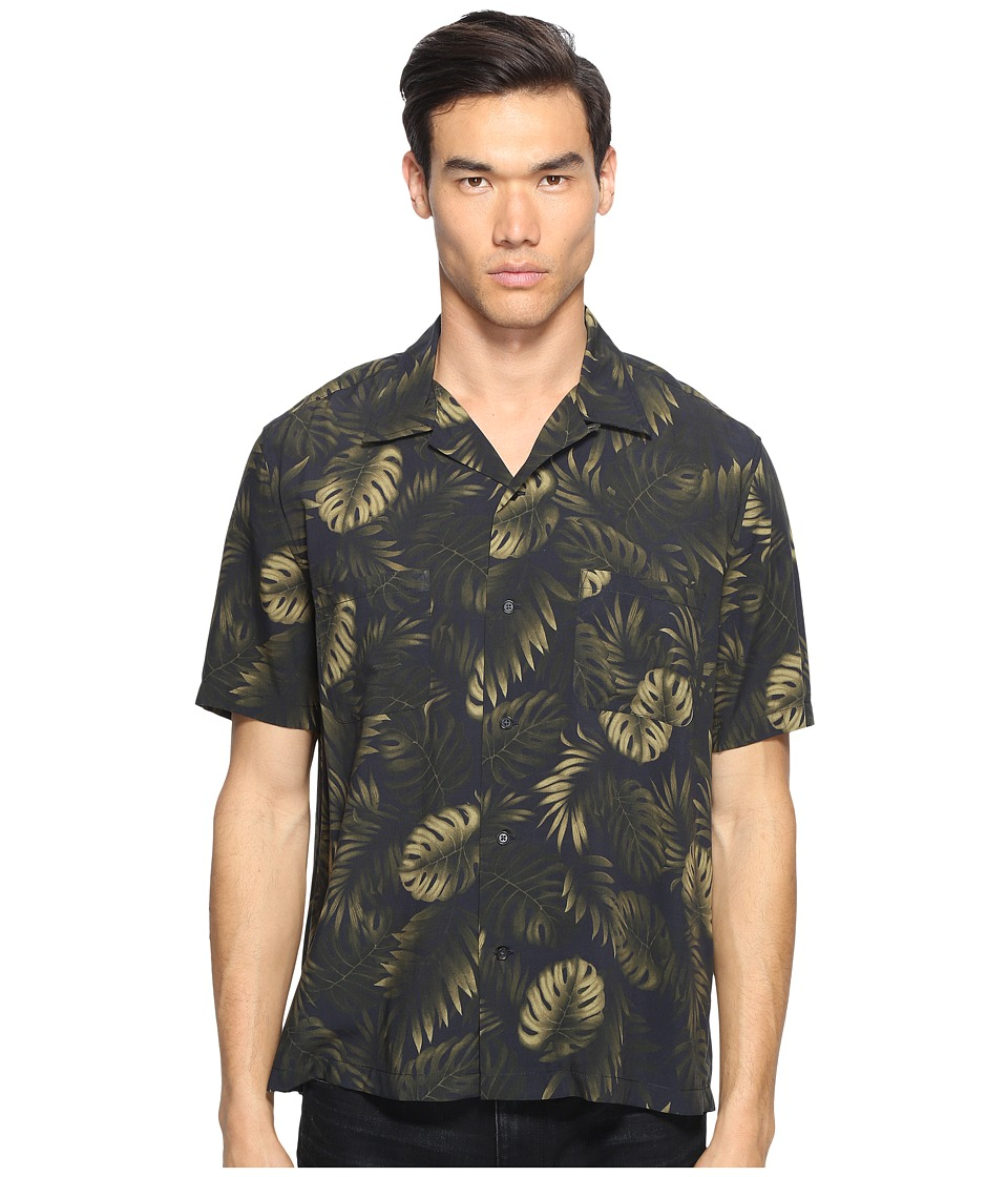 Vince - Short Sleeve Palm Printed Cabana Shirt (Coastal Bule) Men's Short Sleeve Button Up