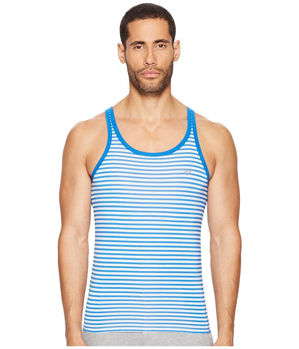 Emporio Armani - Sailor Stripe Microfiber Tank Top (White/China Blue) Men's Sleeveless