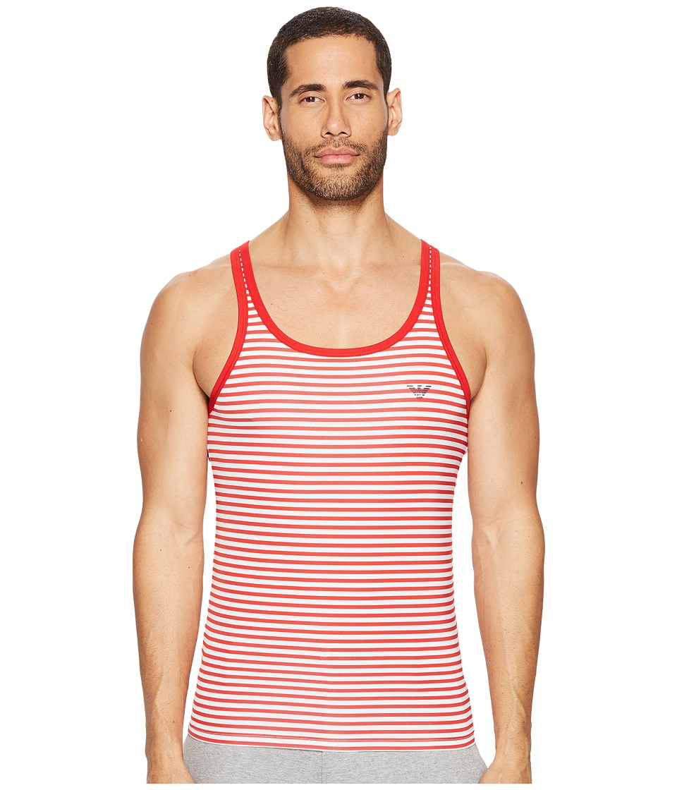 Emporio Armani - Sailor Stripe Microfiber Tank Top (White/Red) Men's Sleeveless