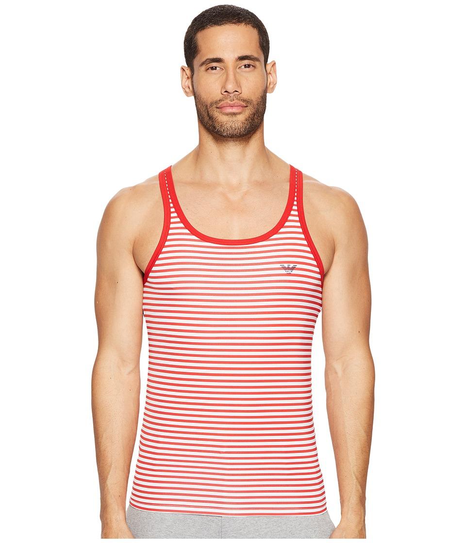 Emporio Armani - Sailor Stripe Microfiber Tank Top (White/Red) Men's Sleeveless