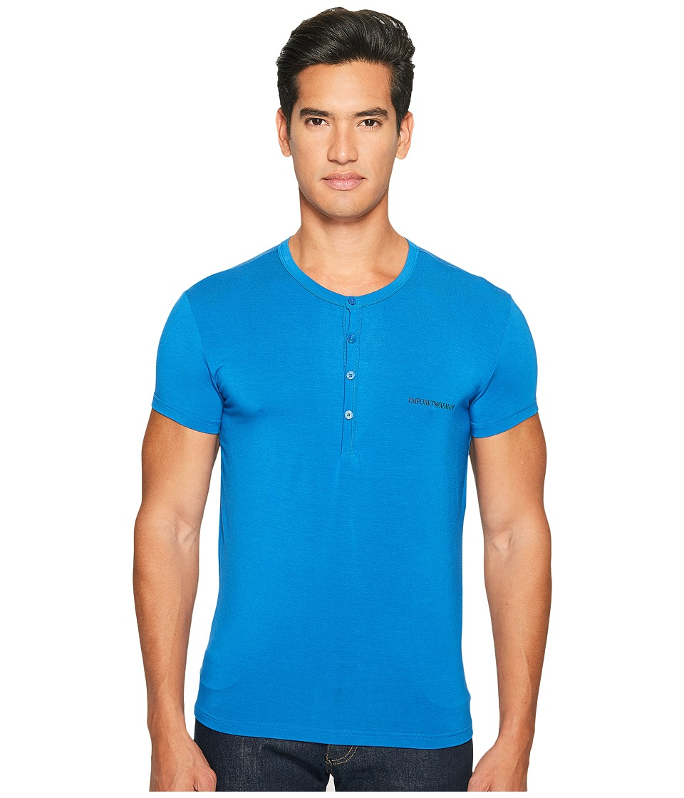 Emporio Armani - Premium Stretch Modal Henley (China Blue) Men's T Shirt