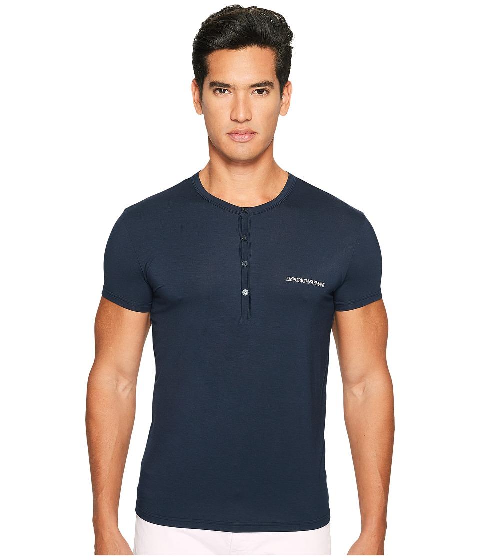 Emporio Armani - Premium Stretch Modal Henley (Marine) Men's T Shirt