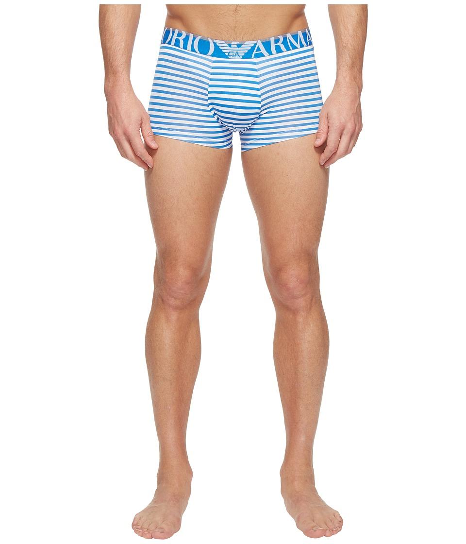 Emporio Armani - Sailor Stripe Microfiber Trunk (White/China Blue) Men's Underwear
