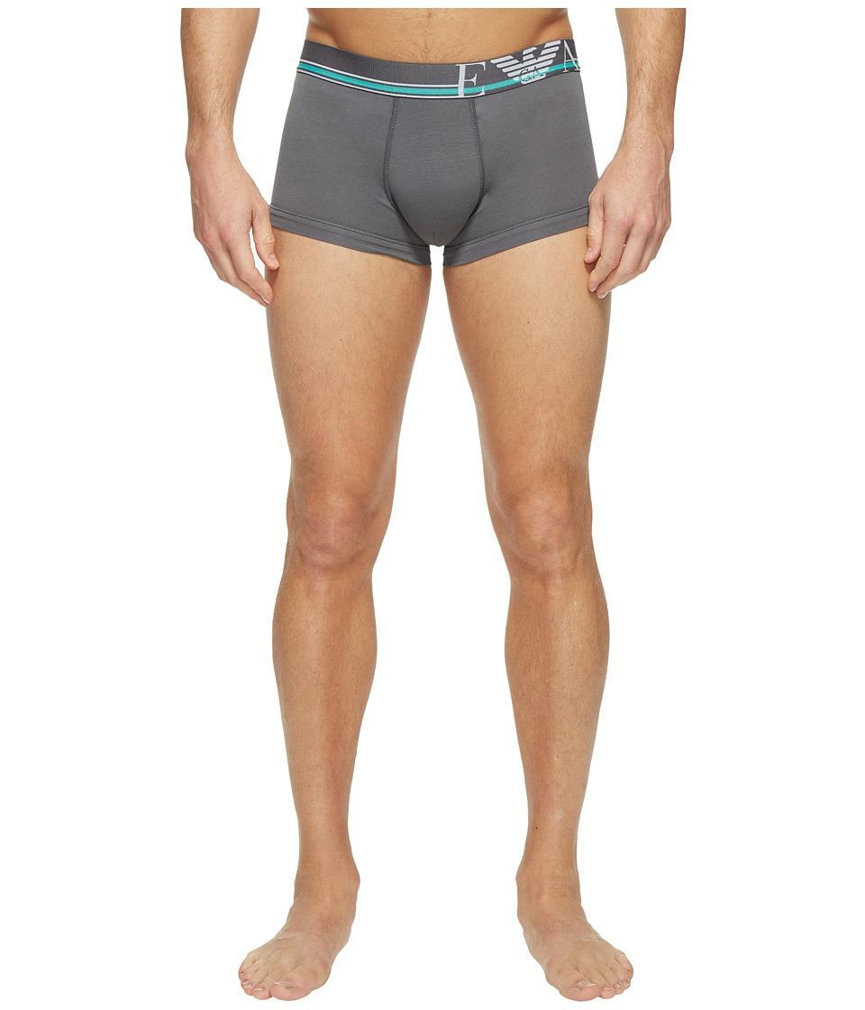Emporio Armani - Pop Stripe Stretch Cotton Trunk (Anthracite Grey) Men's Underwear