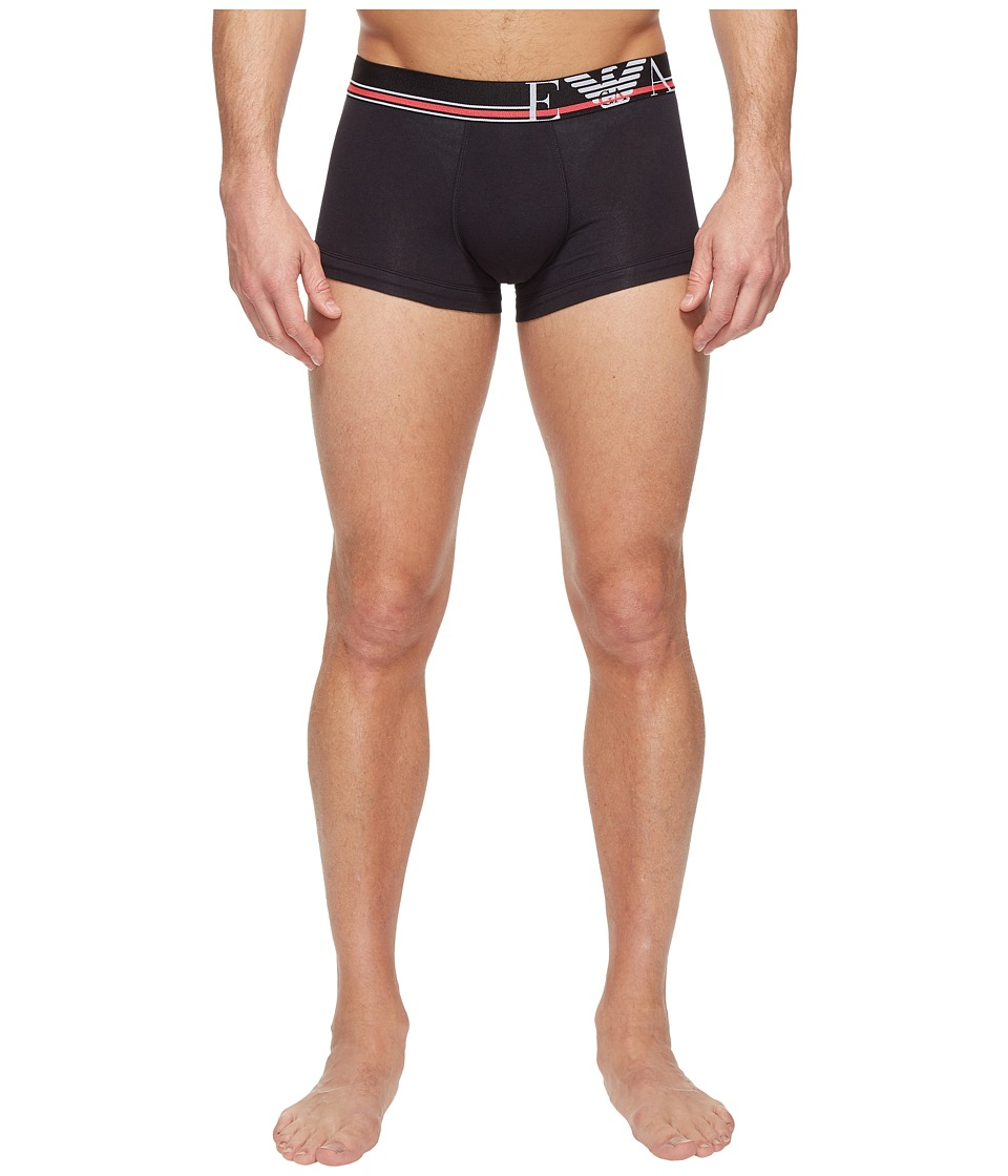 Emporio Armani - Pop Stripe Stretch Cotton Trunk (Black) Men's Underwear