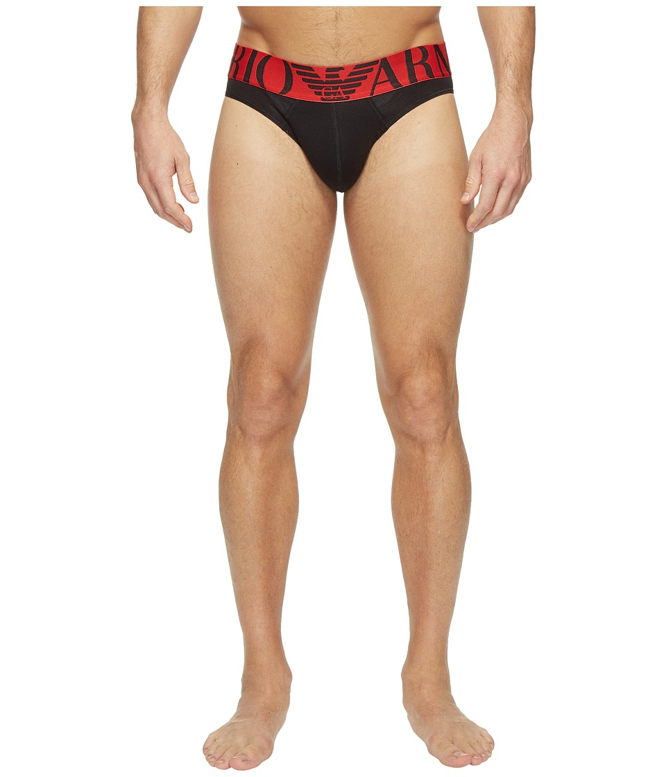 Emporio Armani - Mega Logo Stretch Cotton Brief (Black) Men's Underwear