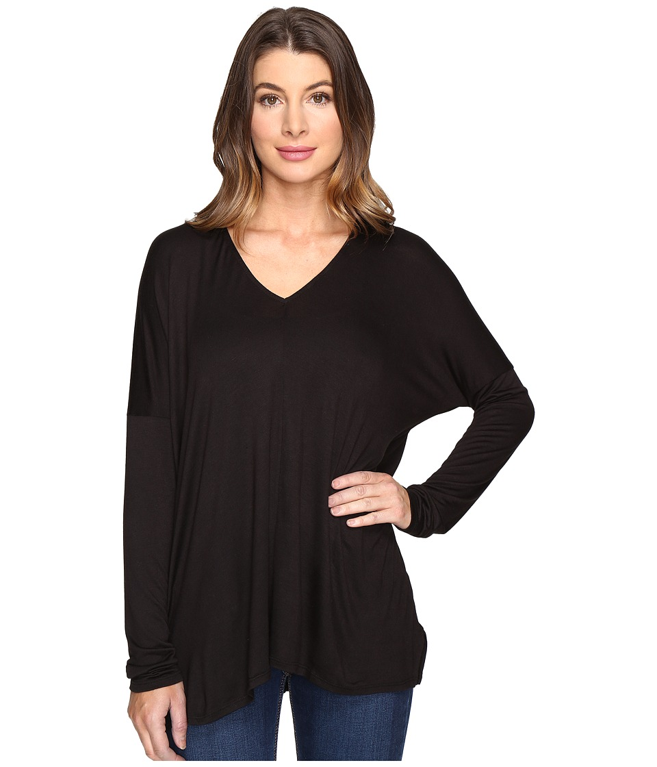 Project Social T - Cape Boxy V-Neck (Black) Women's Clothing
