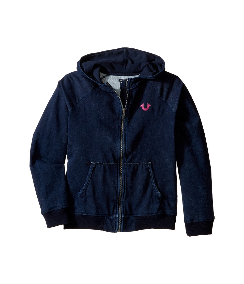True Religion Kids - Indigo Mineral Wash Hoodie (Little Kids/Big Kids) (Indigo) Girl's Sweatshirt
