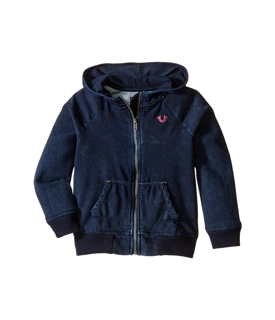 True Religion Kids - Indigo Mineral Wash Hoodie (Toddler/Little Kids) (Indigo) Girl's Sweatshirt
