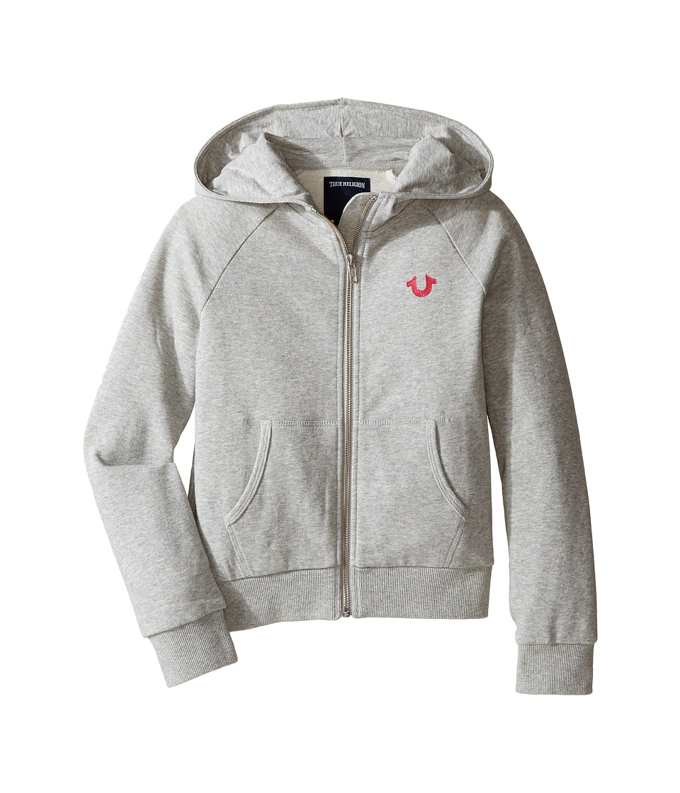 True Religion Kids - Branded Fleece Hoodie (Little Kids/Big Kids) (Heather Grey) Girl's Sweatshirt