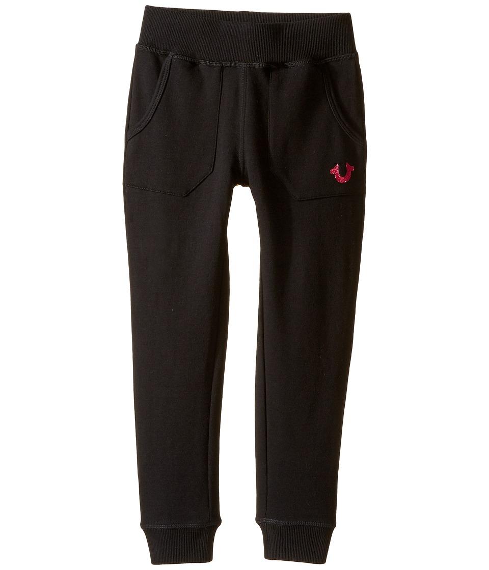 True Religion Kids - Branded Fleece Sweatpants (Toddler/Little Kids) (Black) Girl's Casual Pants