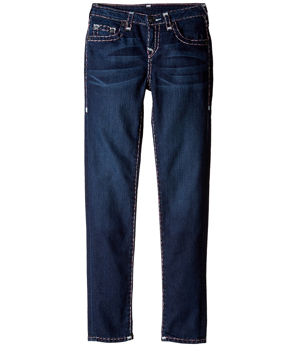 True Religion Kids - Casey White and Pink Combo Super T Jeans in Tear Drop Blue (Big Kids) (Tear Drop Blue) Girl's Jeans