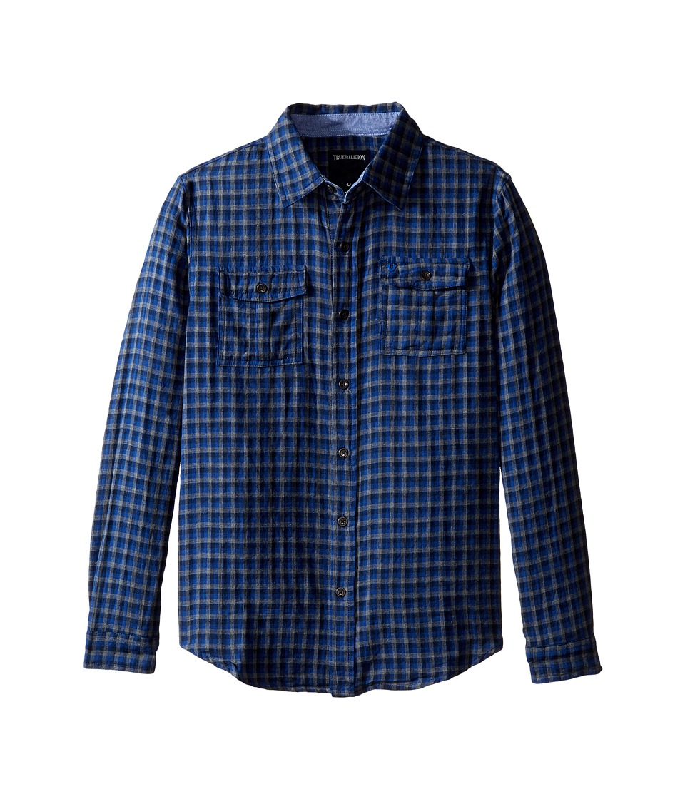 True Religion Kids - Woven Plaid Workwear Shirt (Big Kids) (Royal Blue Plaid) Boy's Clothing