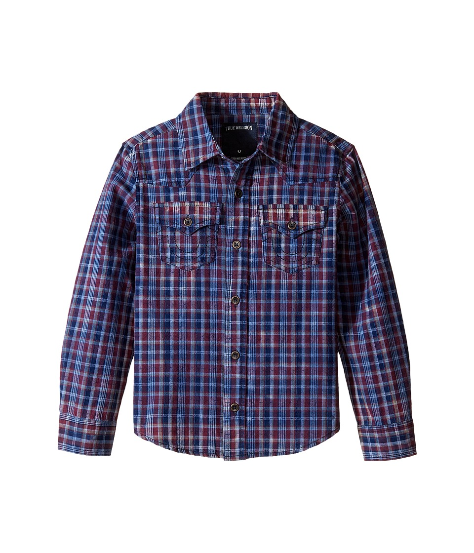 True Religion Kids - Indigo Western Shirt (Toddler/Little Kids) (Insignia Blue Plaid) Boy's Clothing