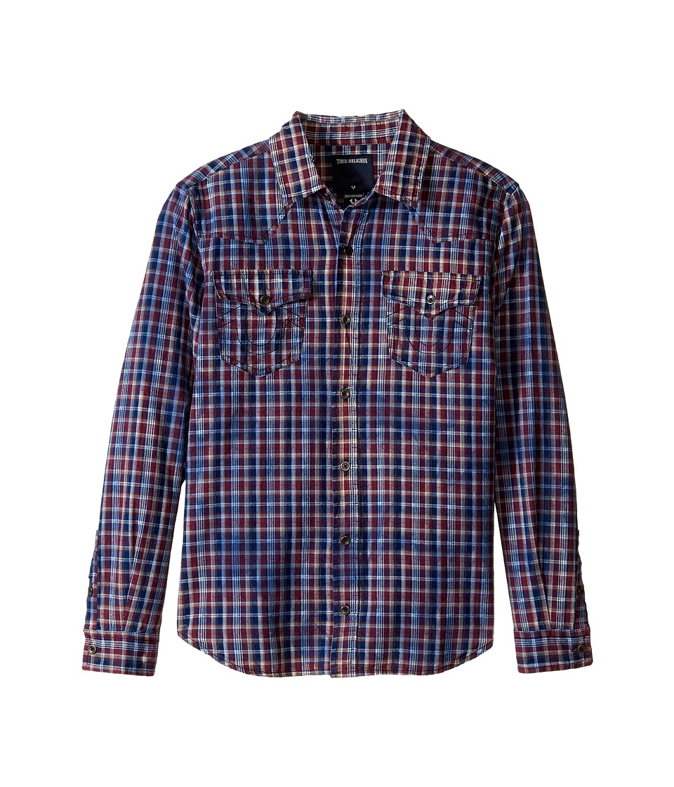 True Religion Kids - Indigo Western Shirt (Big Kids) (Insignia Blue Plaid) Boy's Clothing