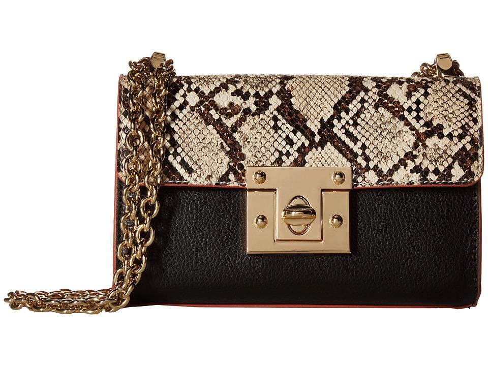 Sam Edelman - Sissy Mini Shoulder (Python/Black/Cinnamon) Shoulder Handbags