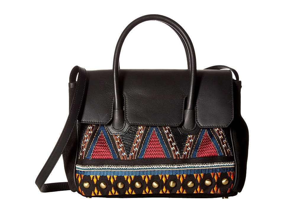 Sam Edelman - Sylvia Tribal Kelly Bag (Black Embroidered Canvas) Handbags