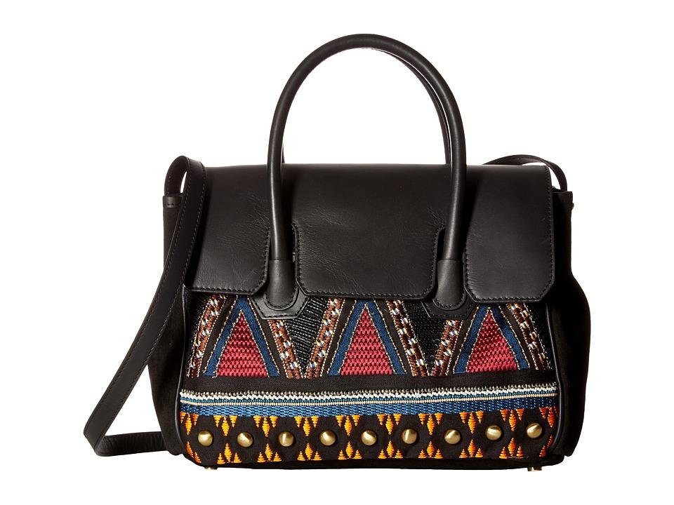 Sam Edelman - Sylvia Tribal Kelly Bag (Black Embroidered Canvas) Handbags