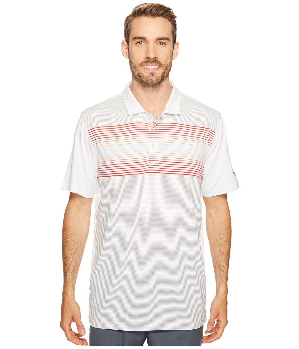 PUMA Golf - Highlight Stripe Polo (Bright White/Vibrant Orange) Men's Short Sleeve Knit