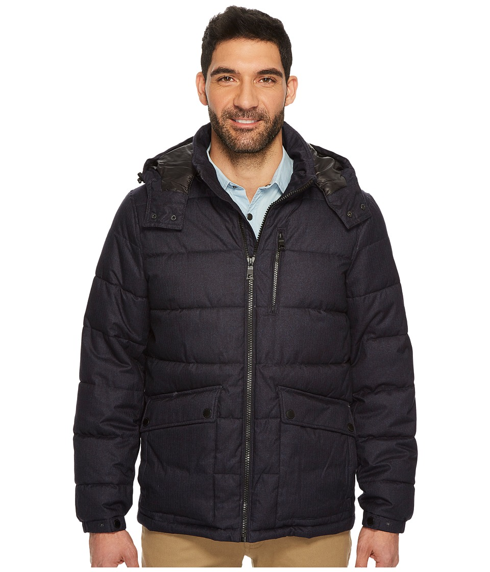 Nautica - Zip Front Brushed Herringbone Jacket (Navy 1) Men's Coat
